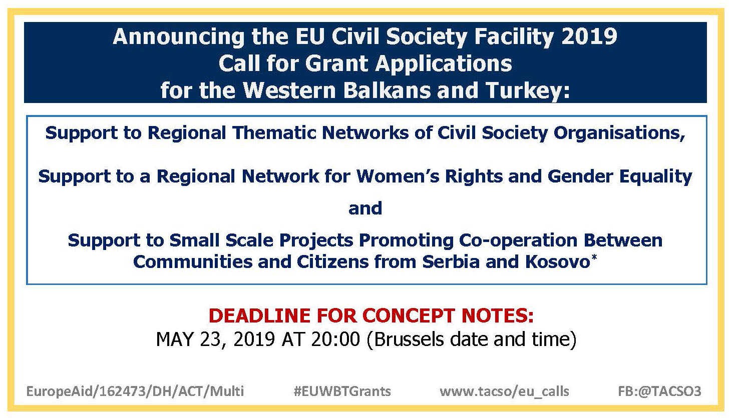 Announcing the EU Civil Society Facility 2019 Call for Applications for the Western Balkans and Turkey