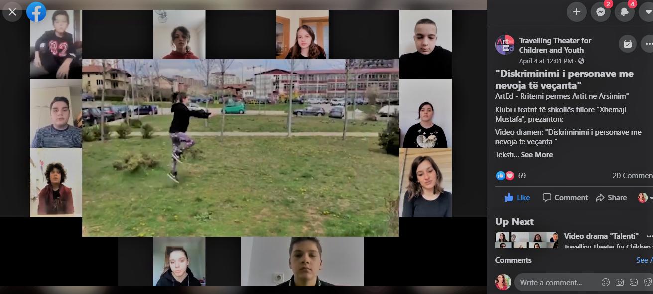 Art & Community Centre Engages Children of Pristina to Address Different Phenomena through Online Forum Theatre Performances